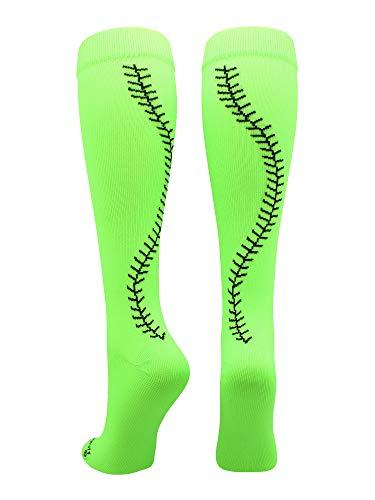 MadSportsStuff Softball Socks with Stitches Over The Calf (Neon Green/Black, Small) -