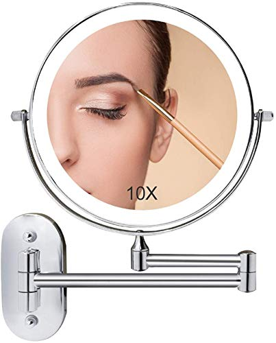 Wall Mounted Makeup Mirror Lighted, 8 Inch Double Sided Cosmetic Mirror With Lights, 1X 10X Magnifying Bathroom Mirror for Shaving, Dimmable LED Lights, Extendable Arm, Touch Control, Chrome Finish