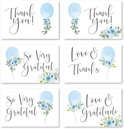 24 Blue Balloon Baby Shower Thank You Cards With Envelopes, Kids Thank-You Note, 4×6 Gratitude Card Gift For Guest Pack For Party, Birthday, For Girl Children, Cute Watercolor Garden Event Stationery