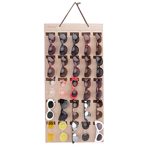 PACMAXI Sunglasses Organizer Storage,Wall Pocket by Sunglasses (Brown 25 Pocket)