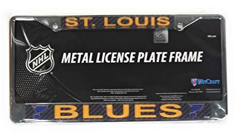 St Louis Blues Carbon Fiber Design Laser Frame Chrome Metal License Plate ()