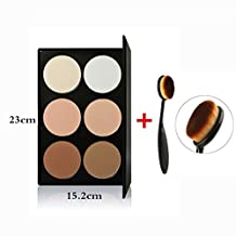 Tinabless 6 Colour Contour Kit - Makeup Sleek Highlighting Powder Palette - Face Contouring and Highlighter Palette - Professional Press Powder Contour Palette + Make Up Toothbrush Oval Foundation Brush by Tinabless