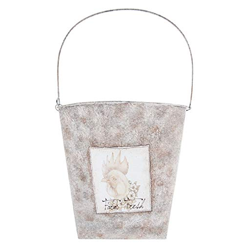 - Rustic Galvanized Hanging Floral Wall Basket Rooster Chicken Farmhouse Wall Decor