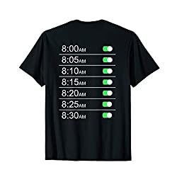 Alarm Clock Timings (Back) T-shirt Tee Funny Snooze Humor