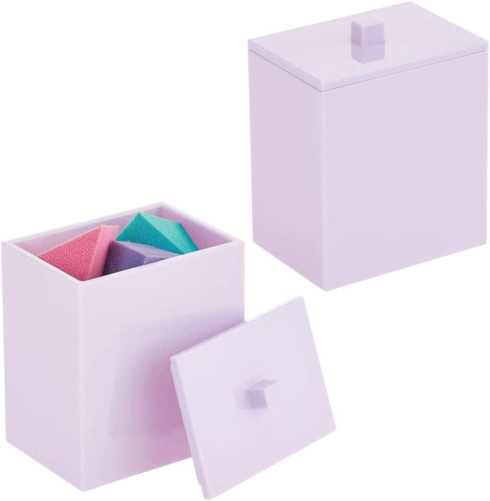 mDesign Modern Square Bathroom Vanity Countertop Storage Organizer Canister Jar for Cosmetics, Cotton Swabs, Rounds, Balls, Makeup Sponges, Bath Salts, Lipsticks, 2 Pack - Light Purple
