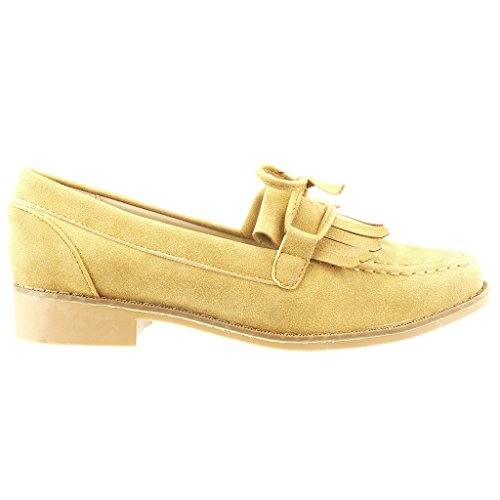 Angkorly Women's Fashion Shoes Mocassins - Slip-on - Fringe - Laces - Knot - Node Block Heel 2.5 cm Camel ihAnG