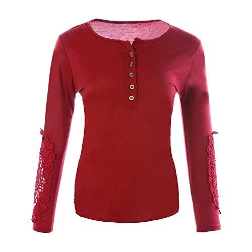 Maniche Camicia Giuntura Basare Base Pizzo Button Rotondo La Schwarz Vintage Con Tops Maglia Lunghe Shirts Tshirt Adattamento Casual Donna Camicetta Eleganti Abbigliamento A Fashion Collo CFvqxFw5r