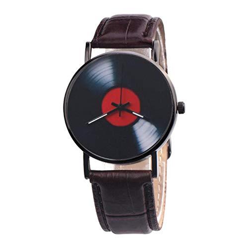 Fashion Women Watches Retro Vinyl Records Design Leather Watch Analog Alloy Quartz Women Ladies Clock Casual