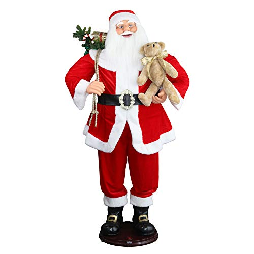 "CHENGMON 59"" Inch Christmas Life Size Animated Rock Singing and Dancing Santa Claus Collapsible Decoration Collection Musical Sensor Reaction Figure Traditonal Red Standing Indoor Gift Bag Bear"