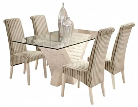 Exceptional Seagull Mactan Stone Dining Table With Tempered Glass Top