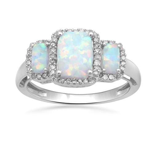 Jewelili 14kt White Gold Cushion Created Opal and 1/10ct Diamond Three Stone Ring, Size 7