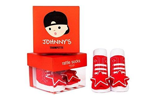 Trumpette Baby Boys' Rattle Socks-1 Pair, Johnny Rattle-Red, 0-12 Months (Boys Trumpette Socks)