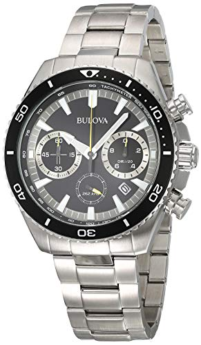 Bulova High Frequency Quartz Chronograph Silver Tone Men's Watch 98B298 ()