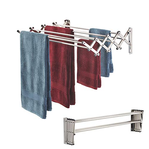 Smartsome Space Saver Fold Away Racks: Stainless Steel Wall Mounted Laundry Drying Rack, Easy To Install (New Hardware Added) Design - 8 34