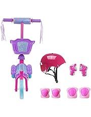 Kit Patinete com Cestinha 3 Rodas Com Kit Proteção Feminino - Lilas