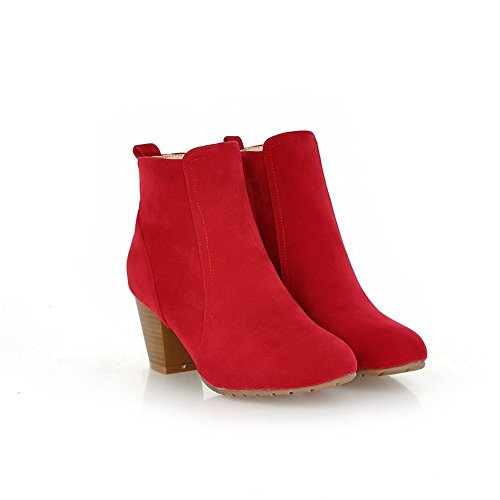 Boots Heels Zipper Red 1TO9 Round Toe Chunky Girls Frosted pyB04