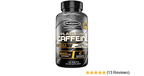 Amazon.com: Muscletech Platinum 100% Caffeine Pill, Unflavored, 125 Count:  Health & Personal Care