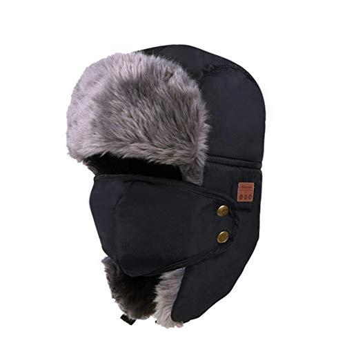 Tectom Winter Bluetooth Headphone Hat Unisex Beanie Hat Mask Type Warm Snow Cap Smart Wireless Hunting Outdoor Headsets Earphone (Black)