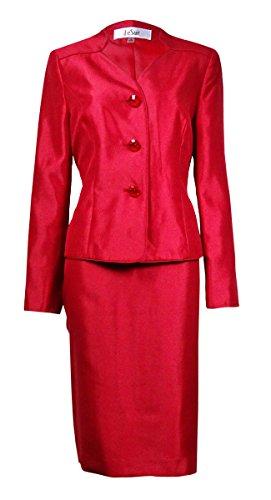 Le Suit Womens Petites Collarless 2PC Skirt Suit Red 8P (Petite Separates Suit)