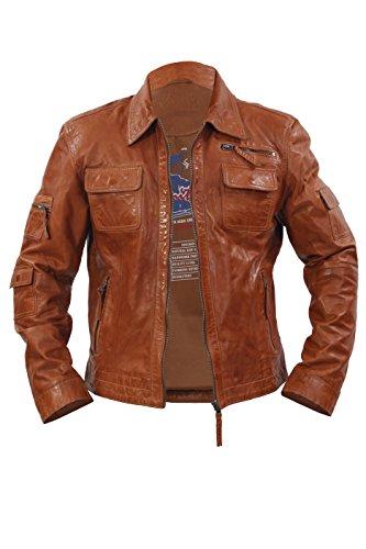 Casual réel 100 % peau de mouton Tan cuir nappa court multi-poches Biker Jacket Infinity Nouveau Hommes Slim Fit