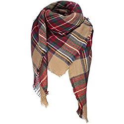 Stylish Warm Blanket Scarf Gorgeous Wrap Shawl, A Brown Red-2, One Size