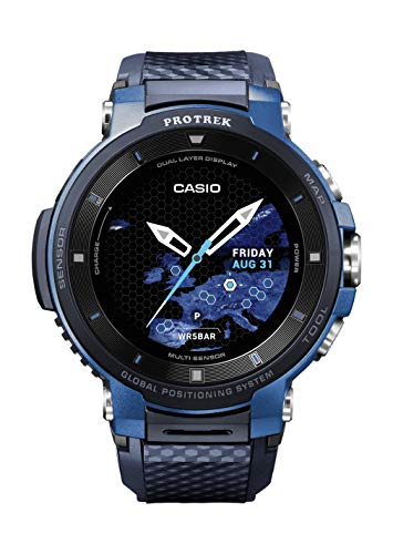 Casio ' Pro Trek' Quartz Stainless Steel and Resin Watch, Color:Blue (Model: WSD-F30-BUCAU