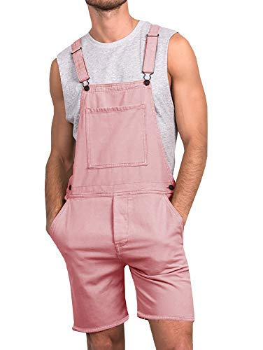 Enjoybuy Mens Denim Bib Overall Shorts Above Knee Length Rompers Walk Dungaree Jumpsuit Relaxed Fit
