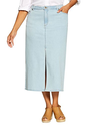 Woman Within Women's Plus Size Petite Stretch Jean Skirt Bleach,16 (Denim Bleach Stretch Skirt)