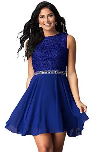 Women's Jewel Neck Beaded Chiffon Prom Dress Short Homecoming Dress Lace Bodice Royal Blue Size 2