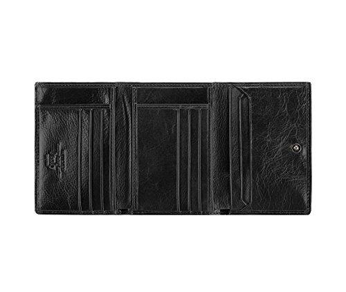 WITTCHEN Portafoglio, Dimensione: 12x9cm, Nero, Materiale: Pelle di grano, Orizzontale, Collezione: Italy - 21-1-071-1