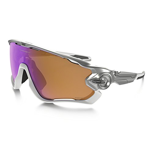Oakley Mens Jawbreaker Asian Fit Sunglasses, Silver/Polished White/Prizm - Oakley Collection Heritage