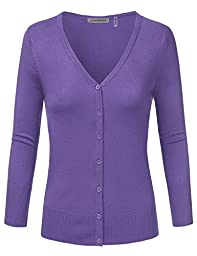 JJ Perfection Women\'s 3/4 Sleeve V-Neck Button Down Knit Cardigan Sweater BLUEBERRY M