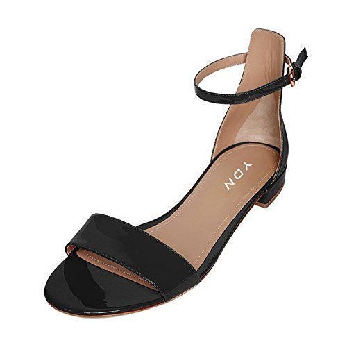 YDN Womens Chic Block Low Heel Sandals with Buckle Solid Ankle Strap Flat Shoes Comfy Black 7