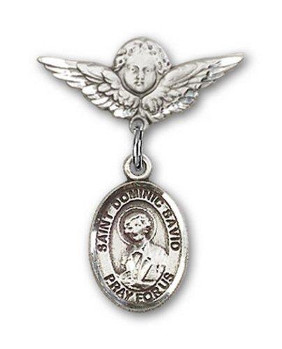 Icecarats Créatrice De Bijoux En Argent Sterling St. Broches Badge Savio Charme D'Ange Dominic 7/8 X 3/4