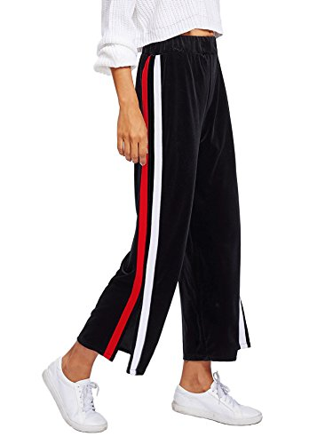 Verdusa Women's Velvet Palazzo High Waist Side Split Striped Wide Leg Pants Black L (Striped Pants & Top Cropped)