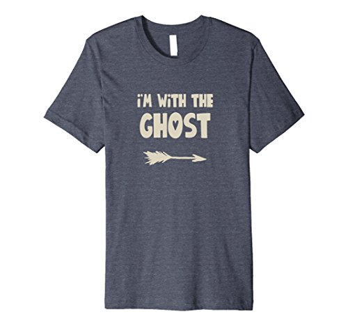 Mens I'm with the Ghost - Halloween Arrow Shirt Large Heather Blue