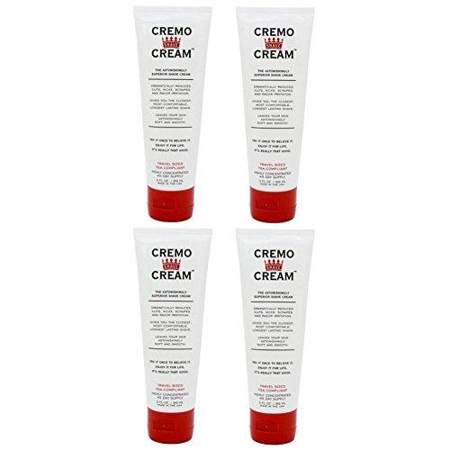 Cremo Cream 3 oz. Travel Tube :-: 4 Pack (Shaving Cream Travel Tube)