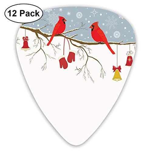 Guitar Picks 12-Pack,Colorful Christmas Illustration With Bullfinches And Hanging Ornaments And Mittens