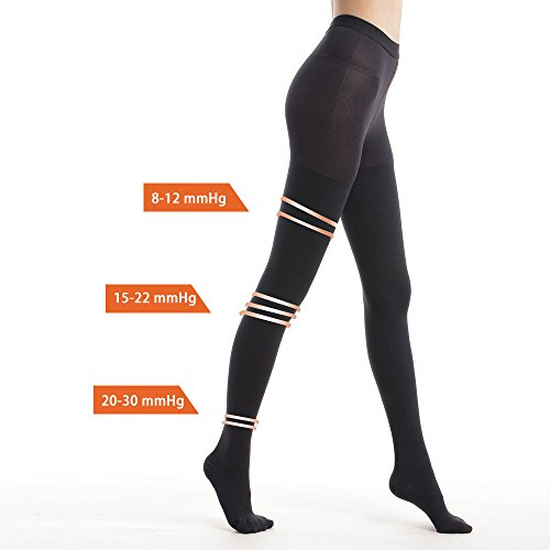 Carer Compression Pantyhose 20-30 mmHg High Waist Support Stockings Black Medium