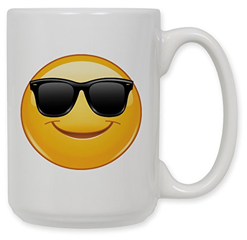 15 Oz Ceramic Coffee Mug - Sun Glasses Emoji