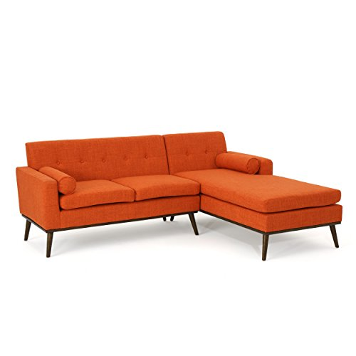Sophia Mid Century Modern 2 Piece Orange Blue Fabric Sectional Sofa and Lounge Set