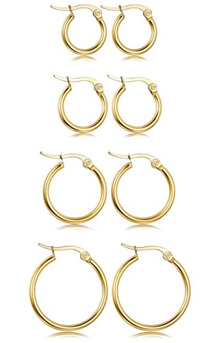 LOYALLOOK Stainless Steel Rounded Small Hoop Earrings Set for Women Nickel Free 4 Pairs Gold