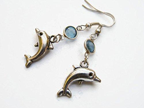 Porpoise Earring (Dolphin Birthstone Earrings, Personalized Nautical Earrings, Tiny Porpoise Earrings, Beach Earrings, Ocean Earrings)
