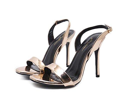 11 cm Stiletto Pump punta abierta D'orsay Slingbacks Sandalias Zapatos de boda Zapatos de vestir Mujeres Simple Color puro Hebilla de cinturón Bling OL Court Party Zapatos Zapatos Eu Tamaño 34-43 Champagne