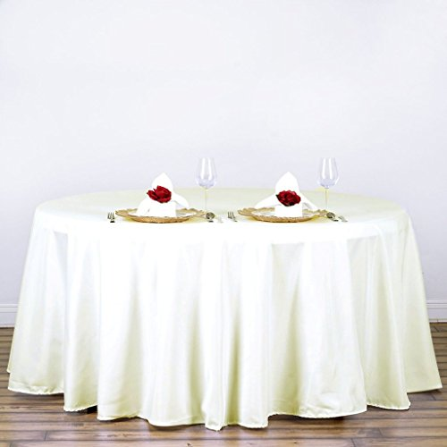 BalsaCircle 120 inch Ivory Round Table Cloth Fabric Table Cover Linens for Wedding Party Tablecloth Polyester Reception Banquet Events Kitchen Dining