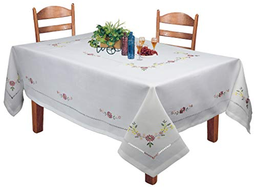 Creative Linens Hemstitched Embroidered Daisy Flower Tablecloth 70x104 Rectangular Table Cover White