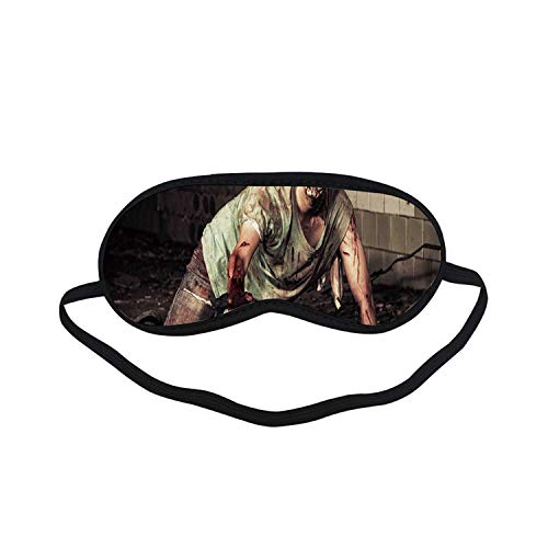 Zombie Decor Fashion Black Printed Sleep Mask,Halloween Scary Dead Man in Old Building with Bloody Head Nightmare Theme for Bedroom,7.1