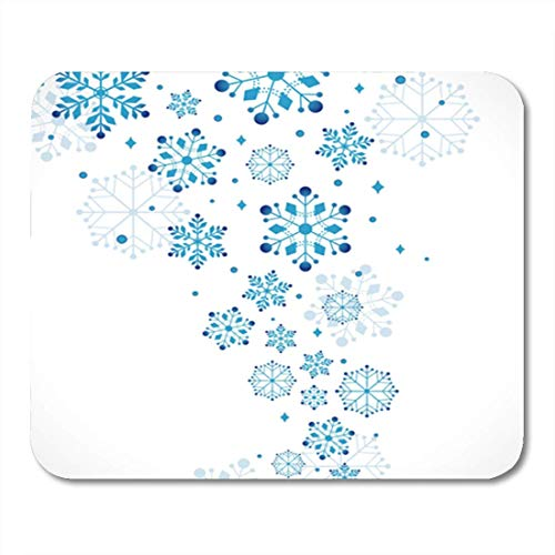 HZMJPAD Blue Snowflake Snow Silver Border Clipart Abstract Winter Ornate Mouse Pad 8.6 X 7.1 in
