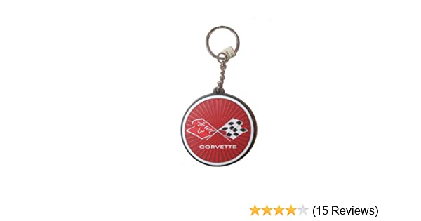 Corvette Licensed Round Logo Silicone Keychain .. New