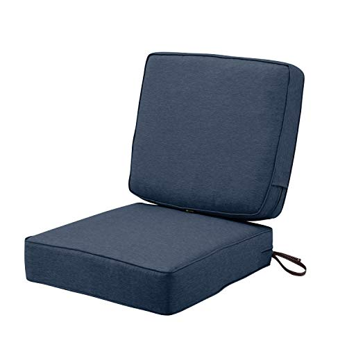 Classic Accessories Montlake FadeSafe Patio Cushion Combo, 25″w x 25″d (seat), 25″w x 22″h (back), Heather Indigo
